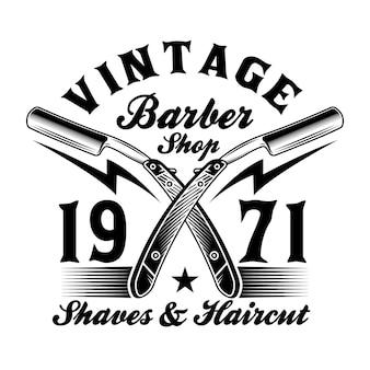 Vintage friseursalon rasierklingen emblem