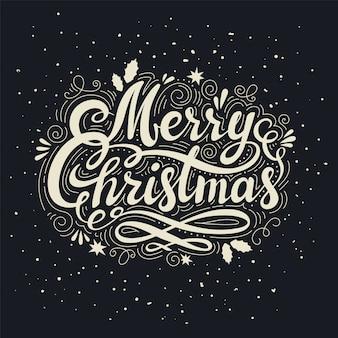 Vintage frohe weihnachten inschrift