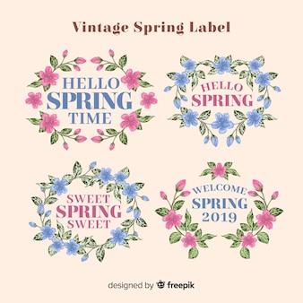 Vintage frühjahr label kollektion