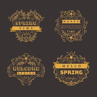 Vintage frühling label / abzeichen sammlung