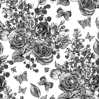 Vintage frühling nahtloses muster mit blühenden blumen der begonie, flieder