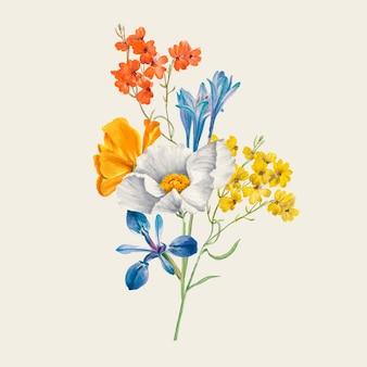 Vintage frühlingsblumenillustration, neu gemischt aus gemeinfreien kunstwerken