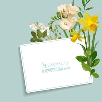 Vintage frühlingsblumenkarte mit einem tag für ihren text. bunte blumen grafikdesign