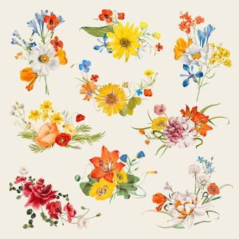 Vintage frühlingsblumennamen-vektorillustrationssatz, neu gemischt von gemeinfreien kunstwerken