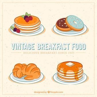 Vintage-frühstück essen mit pfannkuchen