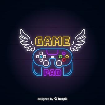 Vintage gaming-logo mit neonlichtern