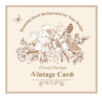 Vintage garten frühling grußkarte
