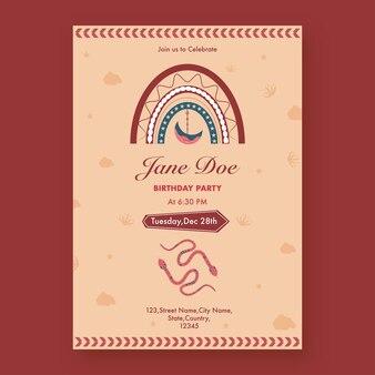 Vintage-geburtstags-party-flyer-design mit ereignisdetails auf rotem hintergrund.