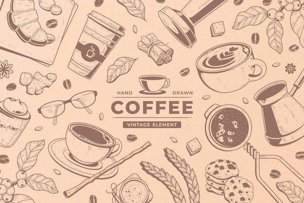 Vintage gekritzel kaffee element