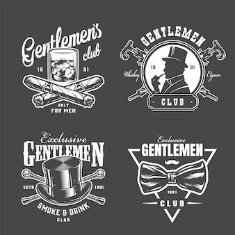 Vintage gentleman logos sammlung