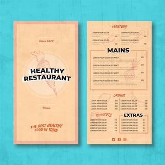 Vintage gesundes essen restaurantmenü Kostenlosen Vektoren