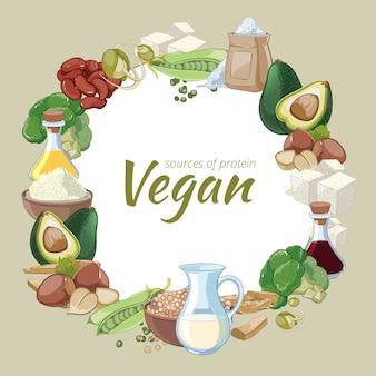 Vintage gesundes veganes essen. bohnen, sprossen und soja, erbsen und kohl aus biologischem anbau