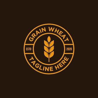Vintage getreide weizen logo Premium Vektoren