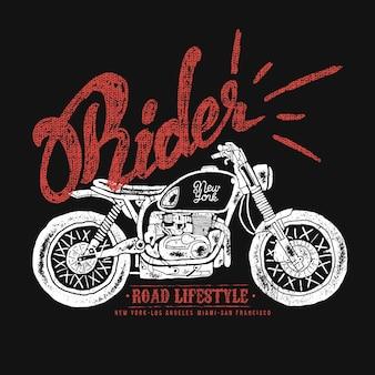 Vintage gezeichnete designvektorillustration des weinlese-motorrads