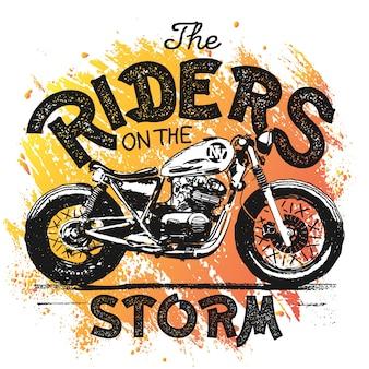 Vintage gezeichnete illustration der handgemachten motorradhand