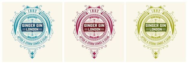 Vintage gin label. vektor geschichtet