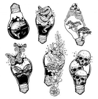 Vintage glühlampe der tätowierungskunst, die das verschiedene sachenhandzeichnen enthält