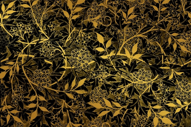 Vintage gold floral background vector remix aus artwork von william morris