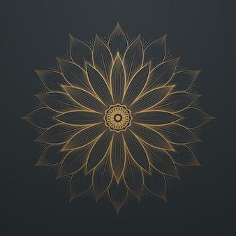 Vintage goldblumen-zusammenfassungs-mandala-linie kunst-spitze