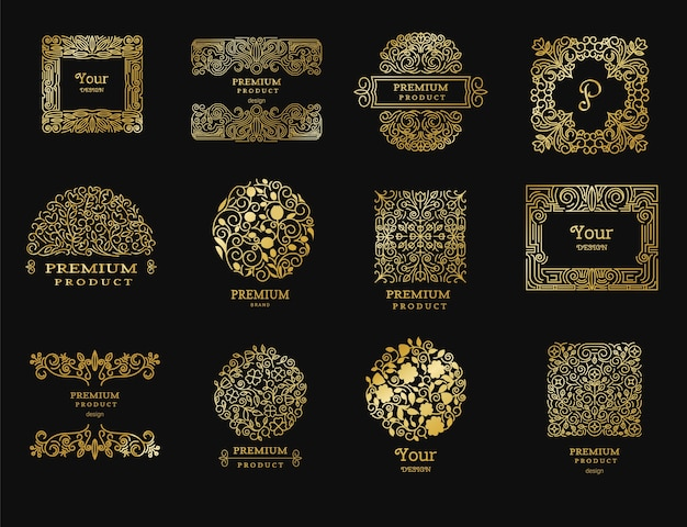 Vintage goldene retro-logos