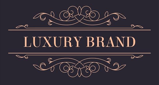 Vintage goldenes logo für luxusmarke