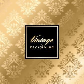 Vintage goldenes nahtloses damastmuster