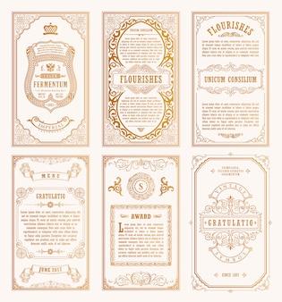 Vintage goldkarten und rahmen