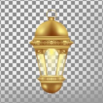 Vintage goldlaterne auf transparentem hintergrund