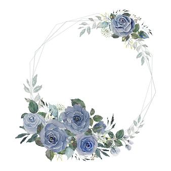 Vintage grauer blauer rosen- und grüner blätterstrauß mit hellem drahtpolygonrahmen