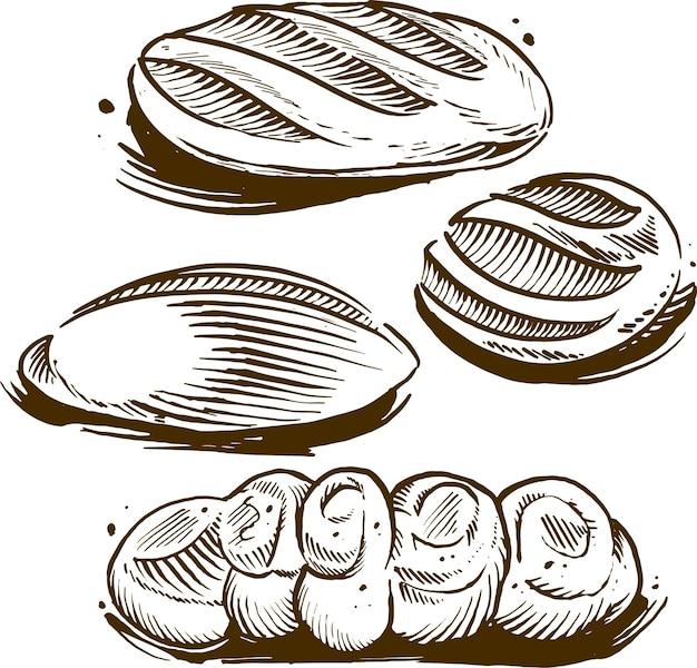 Vintage gravur illustration von gebäck brot