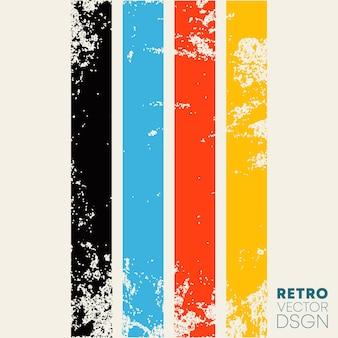 Vintage grunge-textur-hintergrund mit retro-farbstreifen. vektor-illustration.