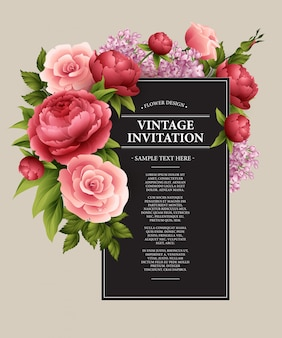 Vintage grußkarte mit blühenden blumen.
