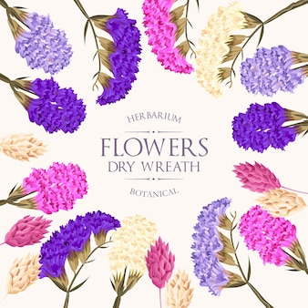 Vintage grußkarte mit hochdetaillierten bunten trockenblumen