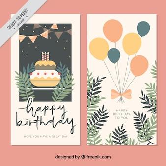 Vintage-grußkarten mit kuchen und luftballons