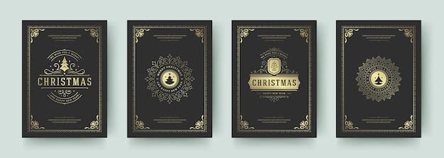 Vintage grußkarten vintage typografisches design verzierte dekorationssymbole mit feiertagswünschen