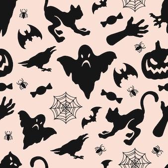 Vintage halloween nahtlose muster mit dunklen unheimlichen tieren spinne geist kürbis spinnennetz süßigkeiten zombie hand silhouetten auf hellem hintergrund vektor-illustration