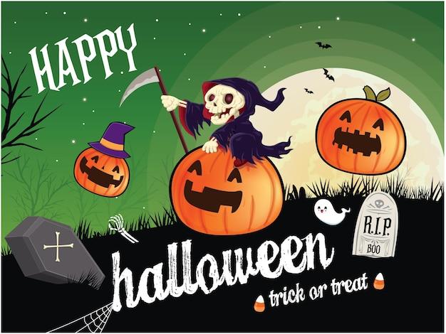 Vintage halloween-plakat-design mit vektor-reaper-geist-jack-o-laterne-charakter