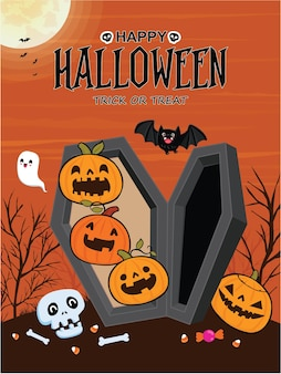 Vintage halloween-poster-design mit vektor-fledermaus-geist-jack-o-laterne-charakter