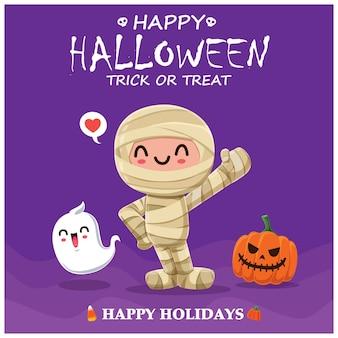 Vintage halloween-poster-design mit vektor-mumie-charakter