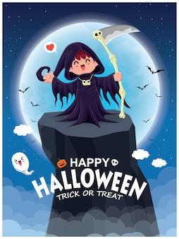 Vintage halloween-poster-design mit vektor-reaper-charakter