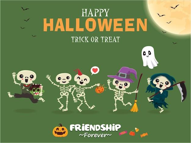 Vintage halloween poster design mit vektor skelett hexe zombie reaper geisterkürbis