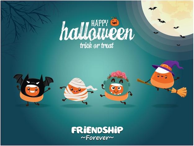 Vintage halloween-poster-design mit vektor-vampir-fledermaus-zombie-mumie-hexe-charakter