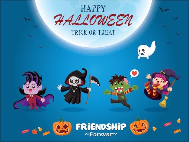 Vintage halloween poster design mit vektor vampir reaper hexe zombie ghost kürbis