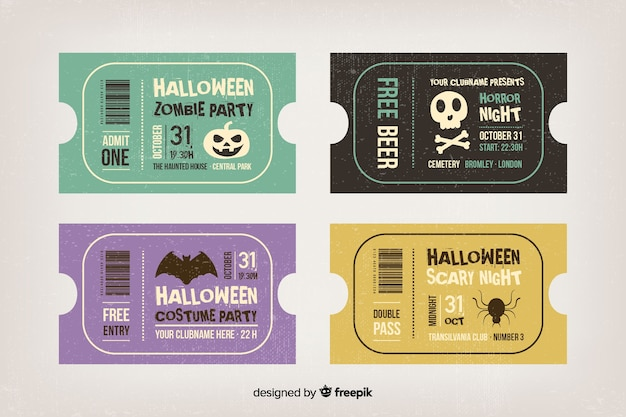 Vintage halloween-tickets für film-marathon