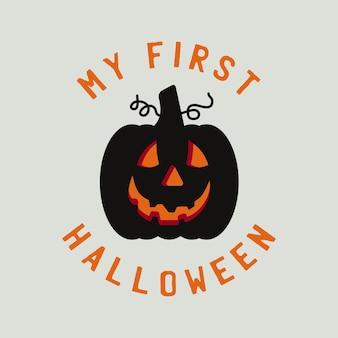 Vintage halloween-typografie-abzeichengrafiken mit kürbis und zitattext - mein erstes halloween. urlaub süße emblem-etikett. stock-vektor-aufkleber.