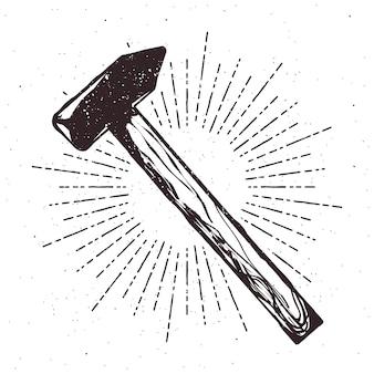 Vintage hammer typografie illustration mit sunburst und grunge-effekt. abzeichen vectir