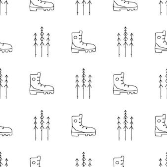 Vintage hand camping nahtlose muster mit retro-camp-stiefel und pinien-elementen gezeichnet. abenteuer-silhouette-liniengrafiken. stock vektorgrafik wandern linearen hintergrund.