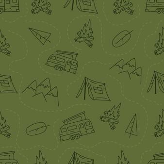 Vintage hand camping nahtlose muster mit retro-camper, zelt und bergen elementen gezeichnet. abenteuer-silhouette-liniengrafiken. stock vektorgrafik wandern linearen hintergrund.