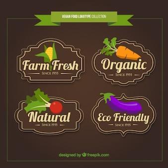 Vintage hand gezeichnet veganes essen logos