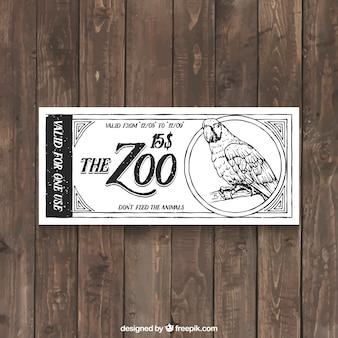 Vintage hand gezeichnet zoo-ticket